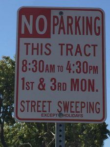 Street Sweeper No Parking Signs in Rossmoor CA