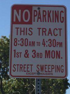 Street Sweeper No Parking Signs in Rossmoor CA