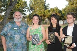 2015 RHA High School Awardees (l tor) Dr. Milt Houghton (Scholarship Selection Chair), Georgia Kouros, Cindy Asano, and Johnny Blumberg
