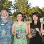 2015 RHA High School Awardees (l tor) Dr. Milt Houghton (Scholarship Selection Chair), Georgia Kouros, Cindy Asano, and Johnny Blumberg