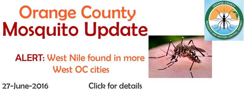 Orange County Mosquito Update 2016-06-27