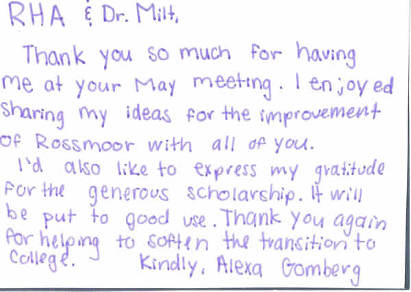 Scholarship thank you Alexa Gomberg to RHA