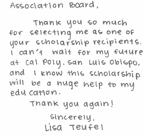 Scholarship thank you Lisa Teufel RHA Scholarship