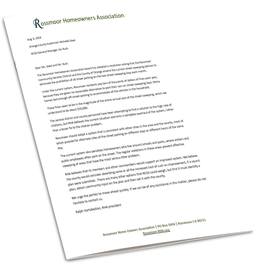 RHA Street Sweeper Resolution - Change the Policy