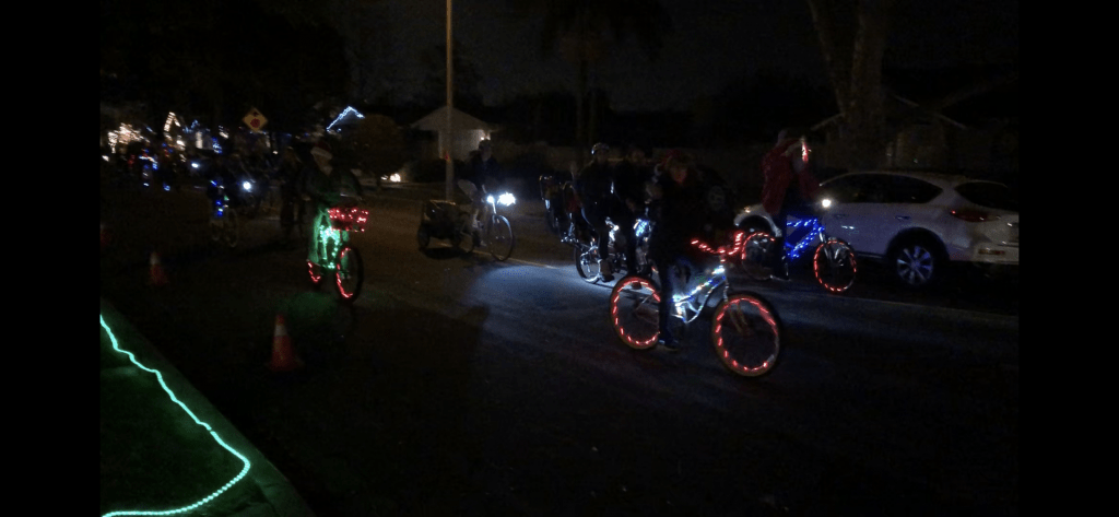 Rossmoor Christmas Lights Bike Riders Along Route 2018