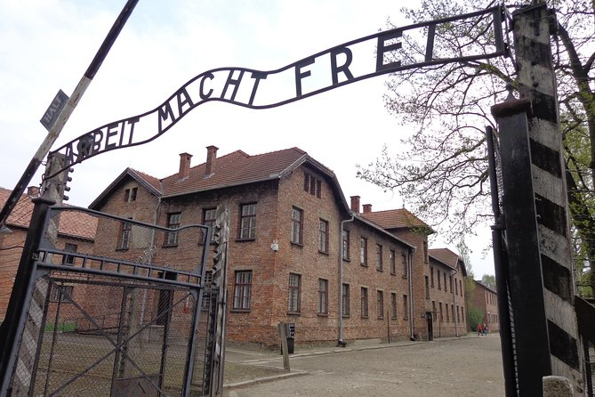 """Arbeit Macht Frei"" above the main gate at Auschwitz means, work sets you free."
